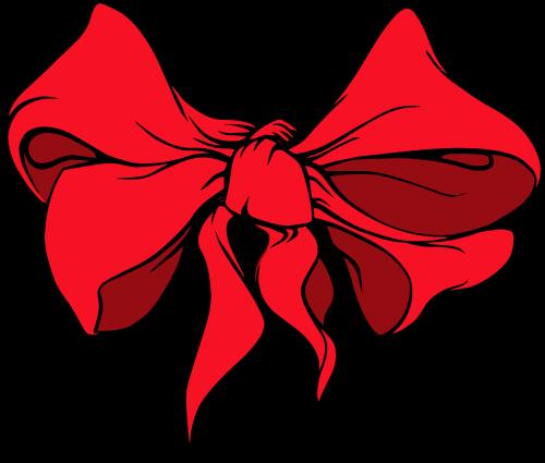 red ribbon hair