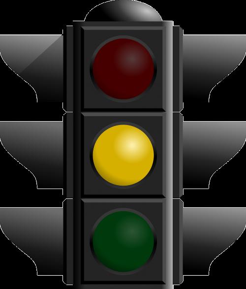 yellow light traffic flashing