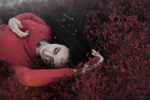raudona,lapai,kritimas,ruduo,kritimas,modelis,grožis,mergaitė