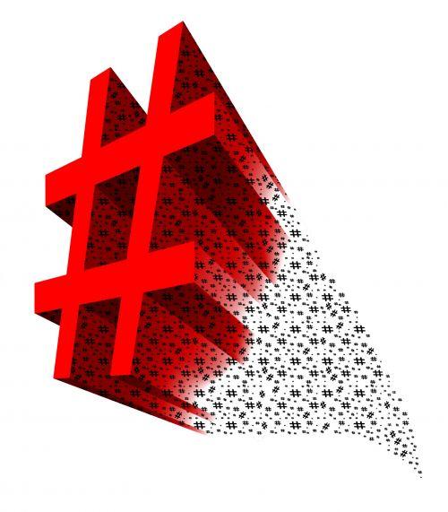 Red 3D Hashtag Symbol
