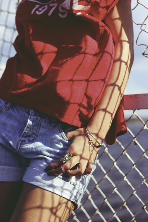 red blouse jeans