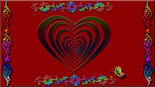 red heart colorful