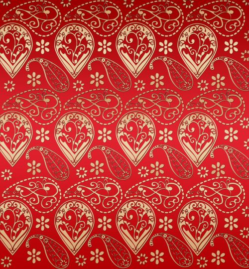 Red And Gold Effect Paisley Pattern