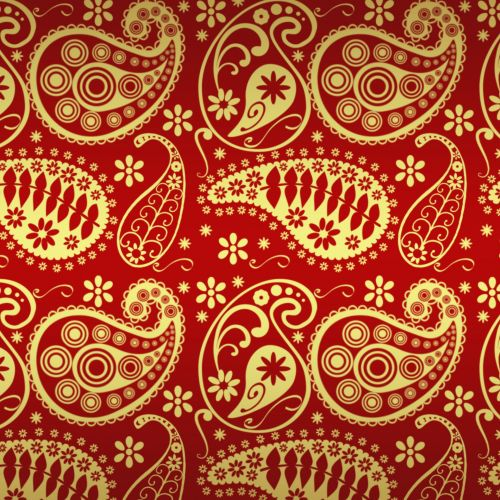 Red And Gold Paisley Paper
