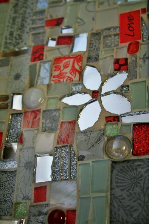 Red And White Mosaic Handwork