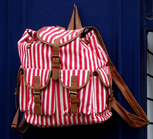 Red And White Stripes Backpack