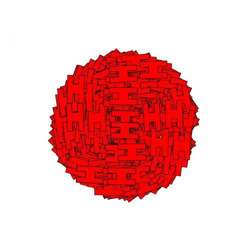 raudona, rutulys, persų, dekoruoti, izoliuotas, balta, fonas, raudonas rutulys