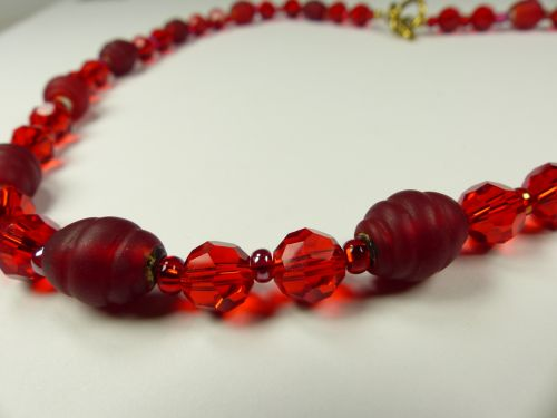 Red Bead Necklace Closeup
