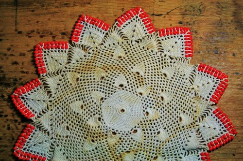 Red Beaded Doily