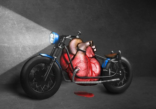 red blood for blue motorcycle  red  blood