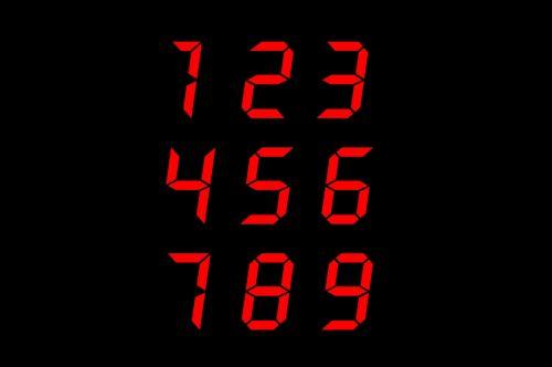 raudona, skaitmeninis, numeriai, sveikieji skaičiai, raudoni skaitmeniniai numeriai