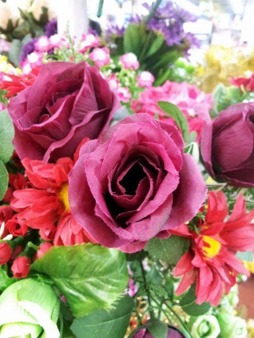 Red Fake Rose Flower In Blossom