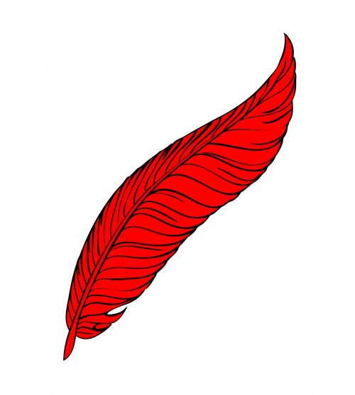 Red Feather Line Art