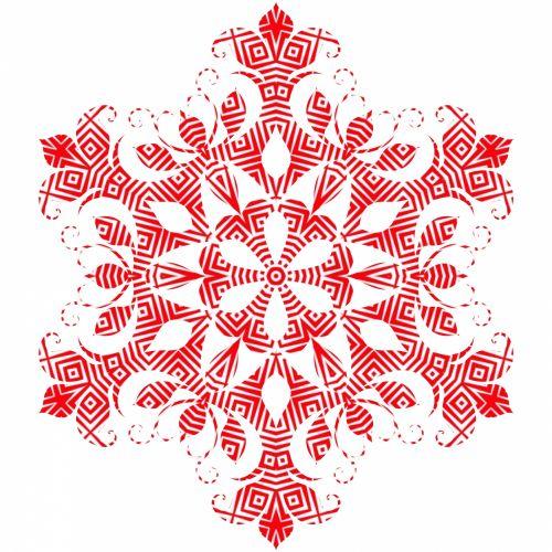 Red Filigree Snowflake