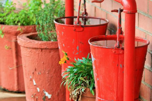 Red Fire Buckets With Water