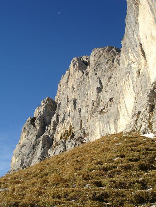 red flüh steep wall rock wall
