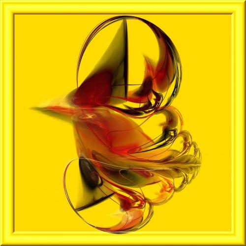 fraktalas, 3d, raudona, stiklas, geltona, rėmas, gražus, raudonas fraktalas