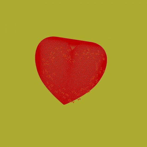 Red Hatch Cross Heart