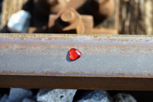 red heart on railway stop teenager suicide stop children suicide