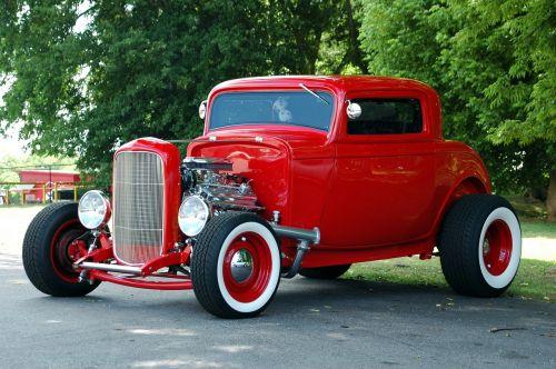 red hot rod car retro