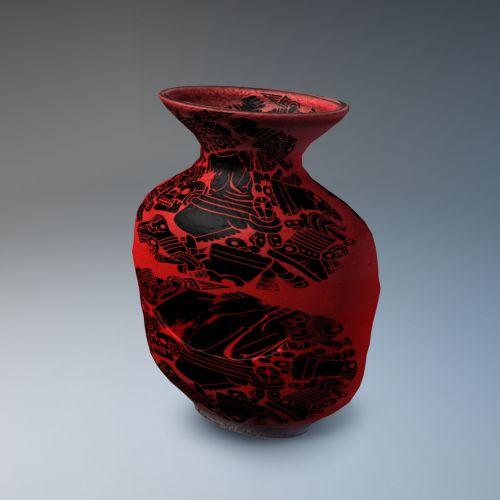 raudona, keramika, skylė, izoliuotas, gradientas, pilka, fonas, molis, 3d, skulptūra, keramika, Kinija, modelis, juoda, menas, abstraktus, trapi, apdaila, vazos, amatų, raudona keramika
