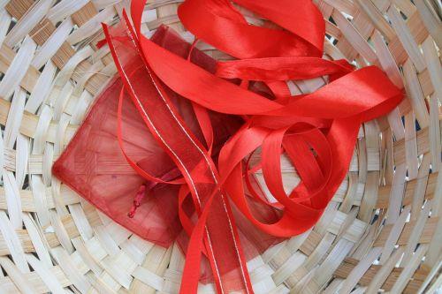 Red Ribbon In Basket