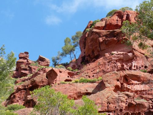 red sandstone red rocks forms