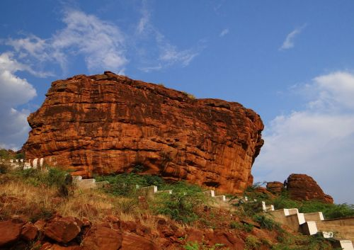 red sandstone monolith eroded