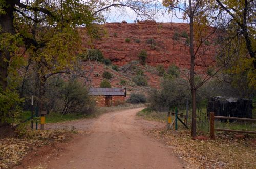 Red Shack, Road And Mountain