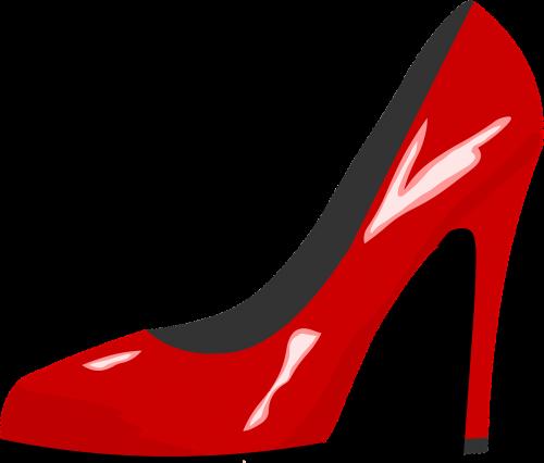 red shoe high heel red