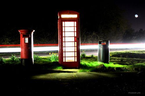 Red Telephone In Dark