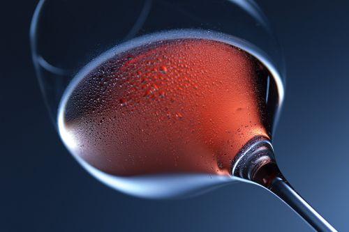 red wine glass macro