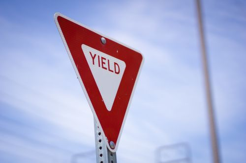 Red Yield Road Sign