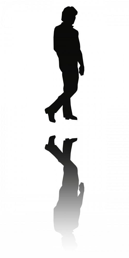 siluetas, vyras, juoda, atspindys, paprastas, kontūrai, vaikščioti, vaikščioti, atsispindi žmogus