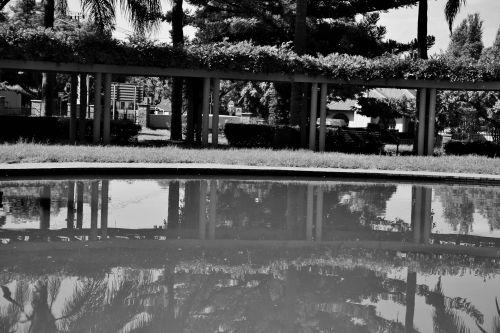 Reflection Of Pillars B&w