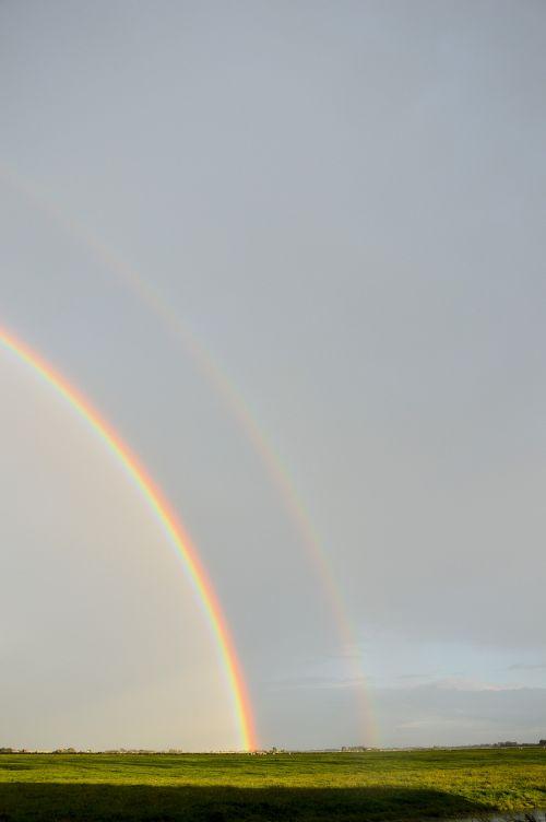 vaivorykštė, lietus, saulė, oras, gamta, spalvos, panorama, kraštovaizdis, vaivorykštė