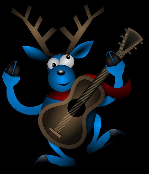 reindeer dancing guitar