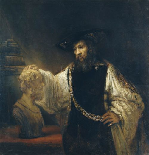 rembrandt,aristotelis,biustas,menas,dažymas,aliejus ant drobės,meno,meniškumas,portretas