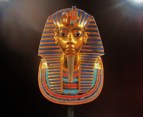 replica of king tutankhamun's mask display riches