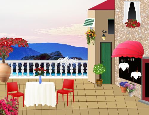 restaurant terrace restaurant table