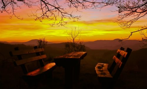 resting place picnic sunset
