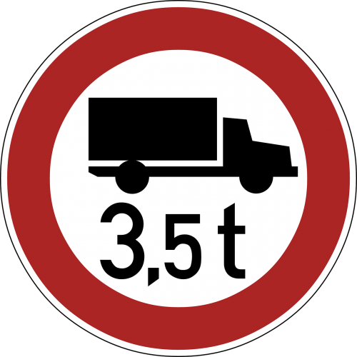 restriction weight road sign