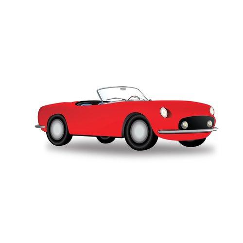retro car  red car  sport car
