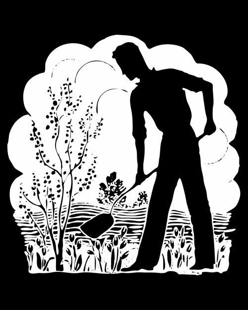 Retro Man Gardening Silhouette