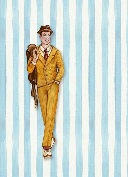 Retro Man Striped Background