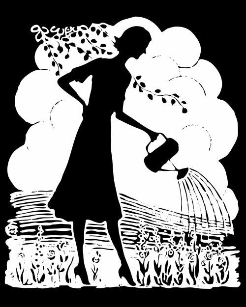 Retro Woman Watering Garden