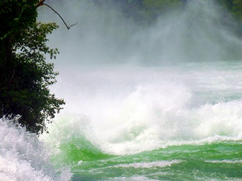 rhine falls waterfall spray