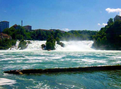 rhine falls waterfall roaring