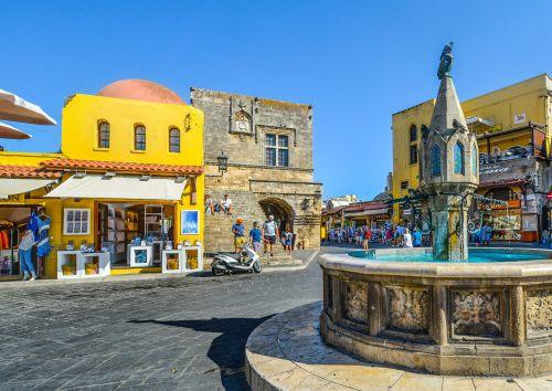 kvadratas, Rhodes, Rhodos, fontanas, balandis, graikų kalba, Graikija, sala, saulėtas, Viduržemio jūros, spalvinga, mėlynas, dangus, senas miestas & nbsp, parduotuvės, apsipirkimas, kelionė, turizmas, Rodo Graikija