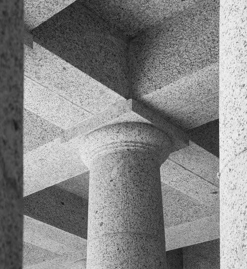 rhodes memorial granite column  ceiling detail  architecture
